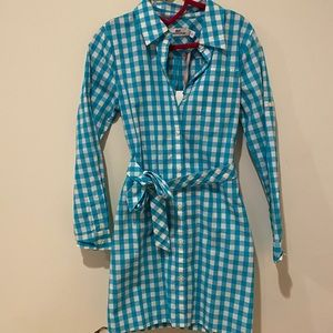 New Vineyard Vines girls sz6 gingham shirt dress